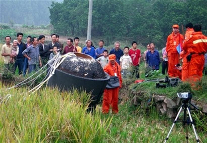 Shijian-8 after Landing - Photo: Chinadaily/AP