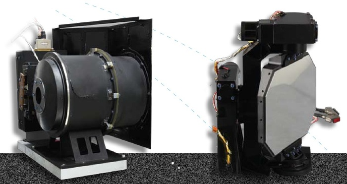 LUT Subsystems: telescope body (left) & mounting platform with two-axis gimbal - Image: CLEP