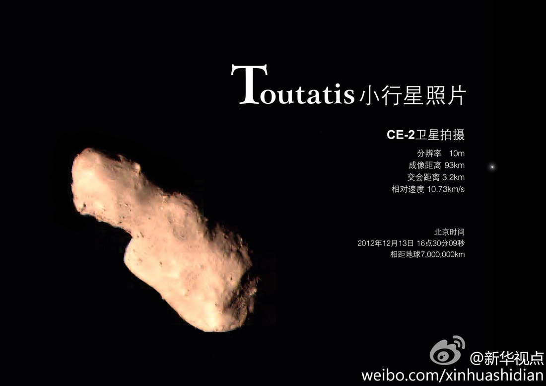 Toutatis Flyby Photo - Image: Xinhua