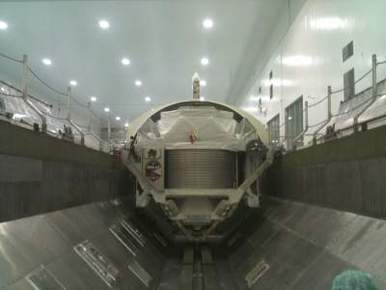 AMS-2 inside a payload canister at KSC (Photo: NASA)