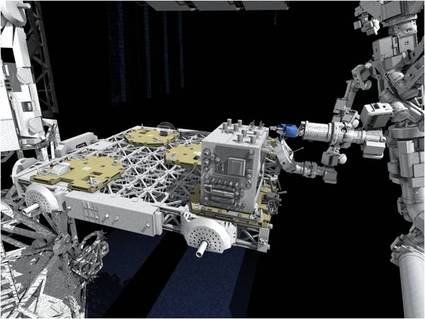 Artist's Impression of the SPDM (Dextre) using the RRM during a demonstration test. The ELC-4 is clearly visible as the structure RRM is mounted on. Dextre is based on the Canadarm 2 for this test. - Image Credit: NASA