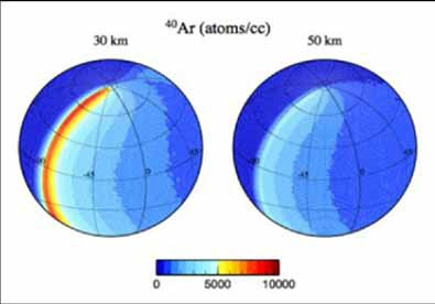 Increased Argon densities on the day side of the Terminator - Image: NASA