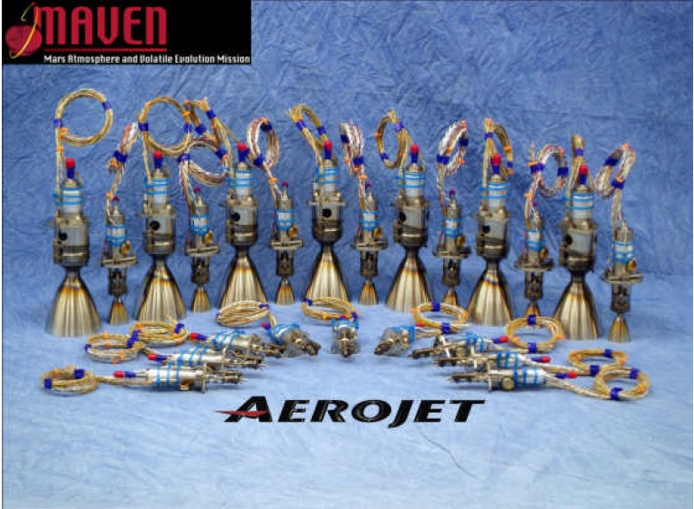 MAVEN's 20 Thrusters + spares - Photo: Aerojet