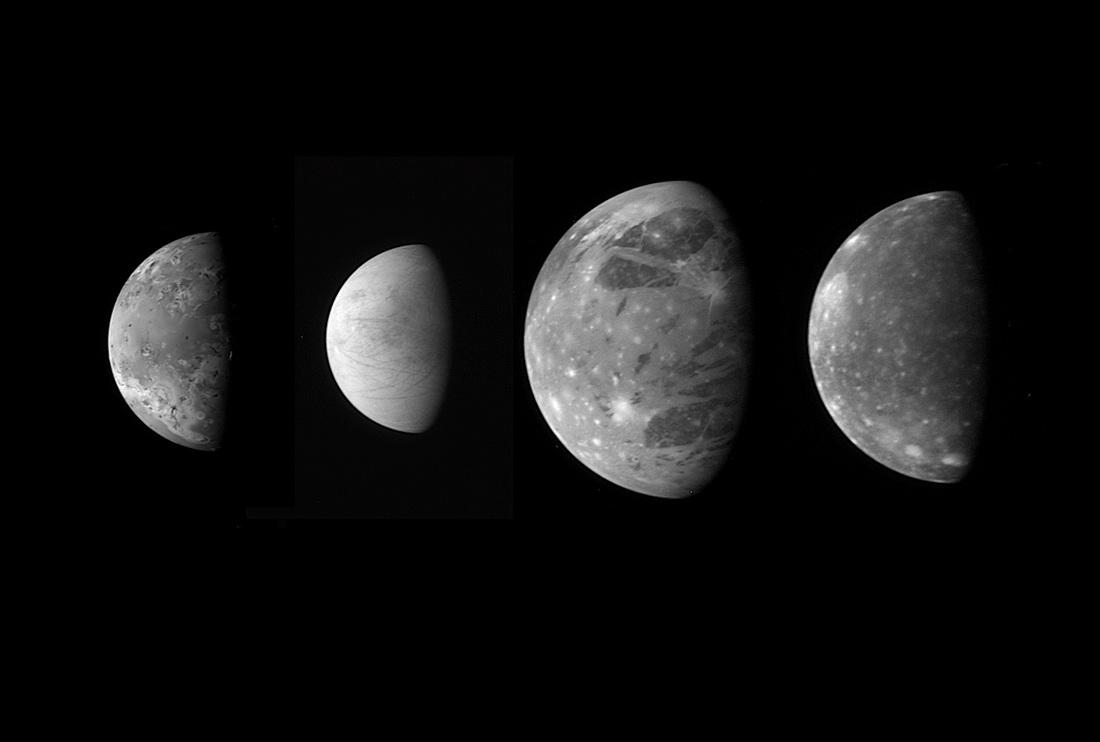 Jupiter's Galilean Moons - Io, Europa, Ganymede & Callisto - Image: NASA/JHU/SwRI