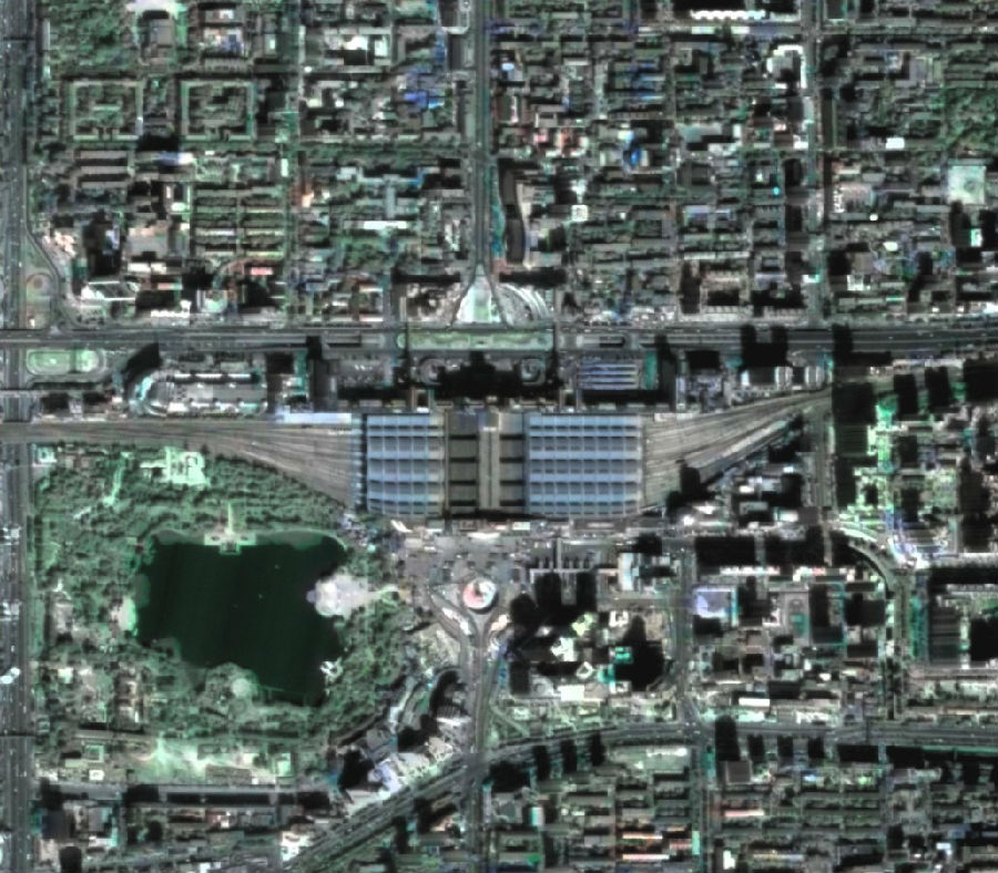 KZ-1 Image of Beijing West Railway Station - Photo: National Remote Sensing Center of China