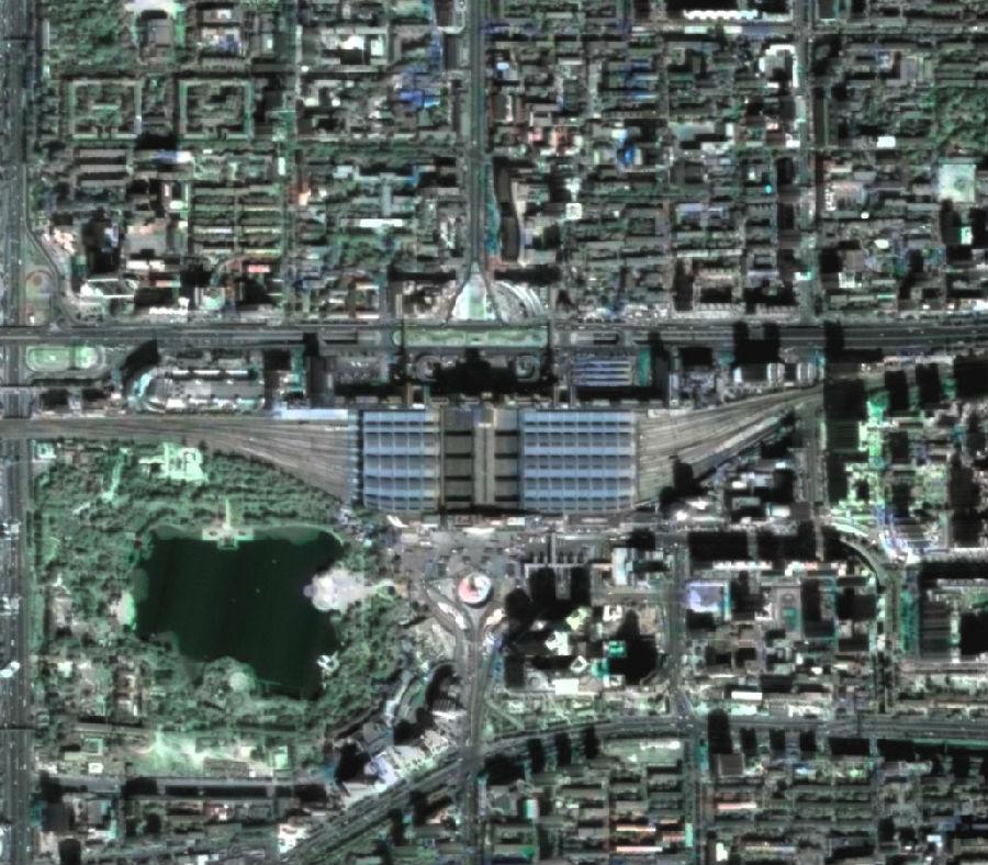 KZ-1 Image of Beijing West Railway Station - Photo: National Remote Sensing Center of China