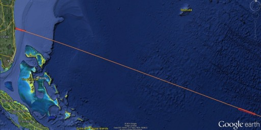 NROL-33 Ascent Trajectory - Image: Google Earth/Spaceflight101