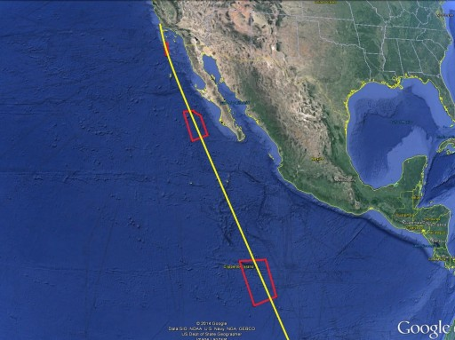 NROL-35 Departure from California towards 63.4° Orbit - Image: Google Earth/Spaceflight101