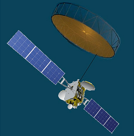 ISS Reshetnev Design for a combined Communications - SIGINT Satellite (Image: ЦНИИ/ISS Reshetnev/TSSonline.ru)