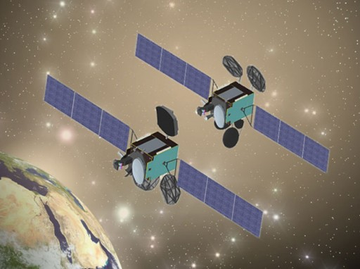 Turksat-4A & B (4B on the right hand side) - Image: MELCO