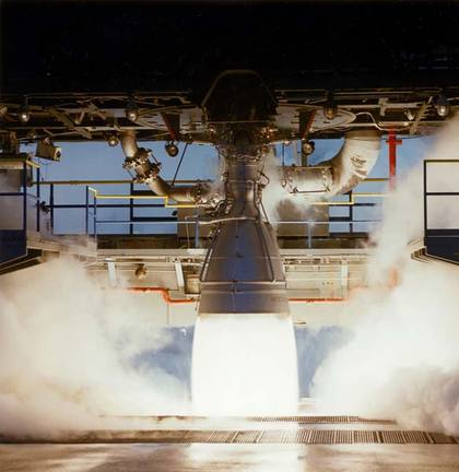 AJ-26 during Testing - Photo: Aerojet