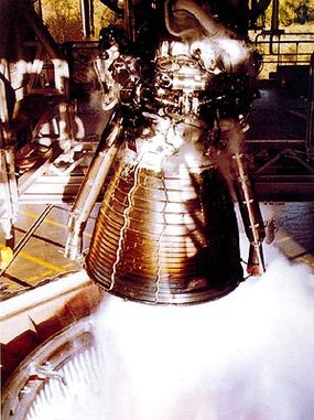 Vulcain Engine during a Test - Photo: SNECMA/SEP/DLR/DASA