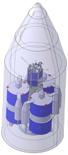 Rockot Payload Configuration with 3 Gonets/Strela and one Yubileiny-class satellite - Image: SibSAU